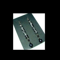 HEMATITE SWIRL Silver and Black Tube Handmade, Hand Painted,  Dangle Beaded Earrings | whiteowldesigns - Jewelry on ArtFire