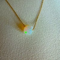 Rough Opal Micro Necklace Pendant & 925 Sterling Silver or 14k Gold Fill Chain - Personalized; Gift for Her; Gift for Mom; Wedding; Unique
