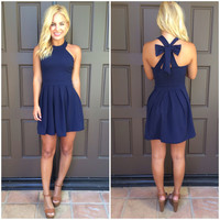 Cross Bow Dress - NAVY