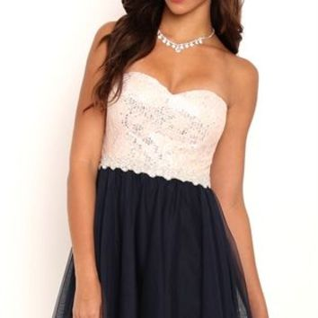 Strapless Short Homecoming Dress with Sequin Lace Bodice