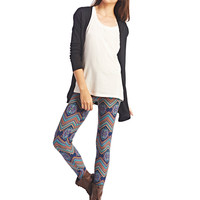 Tribal Chevron Brushed Leggings | Wet Seal