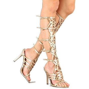 Diva knee-high #gladiator high #heel #sandals