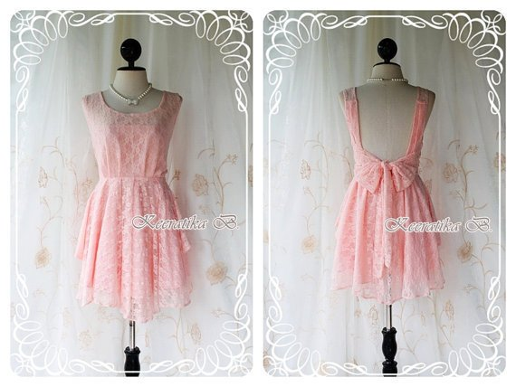 A Party - Cocktail Prom Party Dinner Wedding Night Dress Peachy Pink Toned Lined Deep Back Bow Tie Special Lace Version