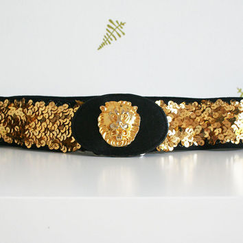 vintage 80s belt / sequined elastic / lion's head buckle / gold + black / cinch / holiday / fall + winter