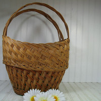 Vintage Very Large Oval Natural Wicker Decorator Basket - Rustic Huge Hand Woven Two Handled Strong Carry All - Primitive OverSized Tote Bag