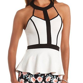 CAGED HALTER COLOR BLOCK PEPLUM TOP