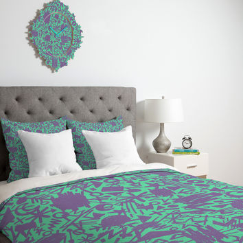 Nick Nelson Turquoise Synapses Duvet Cover