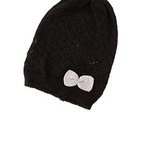 Pointelle Bow-Topped Beanie by Charlotte Russe - Black