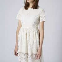 Petite Lace Midi Dress - Cream