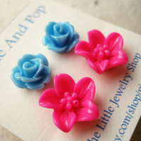 Flower Stud Earrings Set. Sky Blue Rose Earrings, Hot Pink Lily Studs, Summer Earrings, Malibu Brights Duo FSE2.