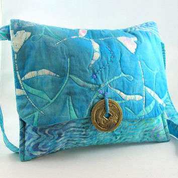 Quilted Purse, Turquoise Batik, Chinese Coin