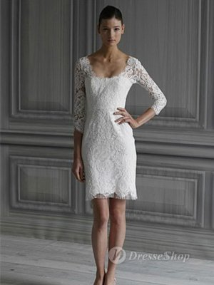 Sheath/Column Square Lace None White Short/Mini Dress (XFSRDS031) at Dresseshop
