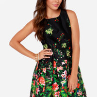 I. Madeline Gardens of the Galaxy Black Floral Print Dress