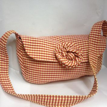 Handmade Purse Country Chic Check Design W Zipper Pocket Magnetic Snap