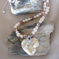 Gold Mother of Pearl Heart Focal Necklace by PattysDreamDesigns on Zibbet