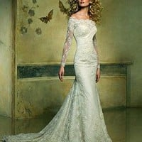 [$305.99 ] Stunning Lace Mermaid Off-the-shoulder Neckline Long Sleeves Wedding Dress - Dressilyme.com