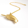 Narwhal necklace - gold - nautical - unique - small gift - sparkly - shiny - hand sculpted
