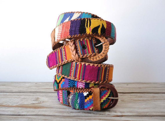 Handwoven Southwestern Cotton & Leather Belt.  Size 30