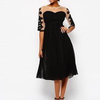 Little Mistress Midi Prom Dress with Embroidered Sleeves