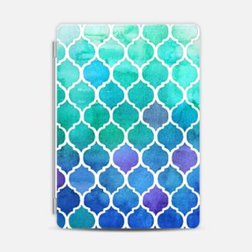 Emerald & Blue Marrakech Meander - watercolor Moroccan pattern iPad Air case by Micklyn Le Feuvre | Casetify