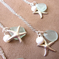 Bridesmaids Sea Glass Starfish Necklace in Seafoam Blue with fresh water pearl - Perfect Necklace for Beach Wedding - FREE SHIPPING