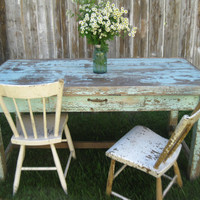 Primitive farmhouse work table with chippy old robin egg blue paint