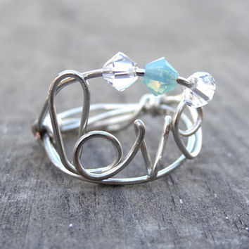 Silver Love Wire Wrapped Crystal Handmade Ring Wire Writing Beads Bead Beading