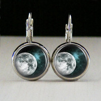 Round Glass Bezel Earrings Jewelry Moon Space Earrings Silver (A3646E)