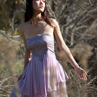 SARA - strapless babydoll dress with brocade lace