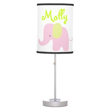 Pink and Lime Baby Elephant Table Lamp