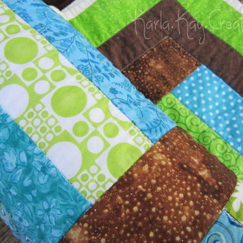 Baby Quilt Modern Boy Girl Stripes Blue Turquoise Brown Green Cream Toddler - Sea Breeze