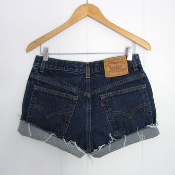 Vintage Dark Wash Levi's High Waisted Cut Off Denim Shorts Jean Cuffed 29""