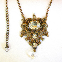 Goth Queen Crystal Necklace  - Swarovski Clear Crystals on Oxidized Brass