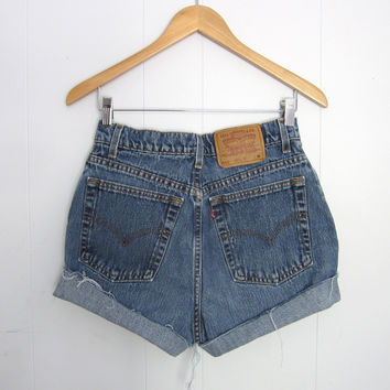 Vtg Levi's Medium Dark Wash High Waisted Cut Off Denim Shorts Jean Cuffed 27""
