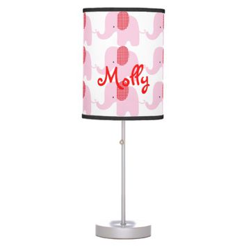 Pink and Red Baby Elephant Table Lamp