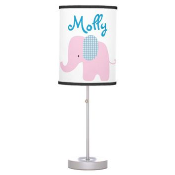 Pink and Blue Baby Elephant Table Lamp