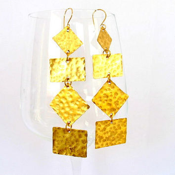 Hammered geometric earrings, long brass tribal earrings,  modern metal jewelry, gift under 40