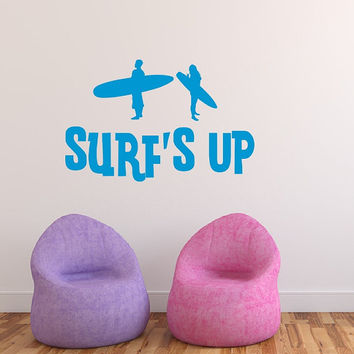 Surfs Up Vinyl Wall Decal Teen Surf Beach Room Decor 22441