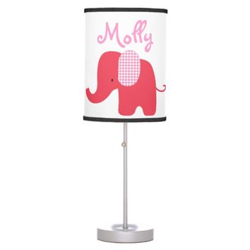 Red and Pink Baby Elephant Table Lamp