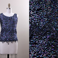 60s sequin top / vintage 1960s wool black sparkly sequin sleeveless shirt / size small S