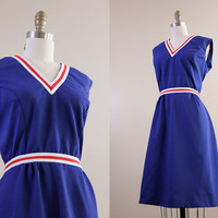 vintage dress / 1970s cheerleader style / red white & blue dress // size large L