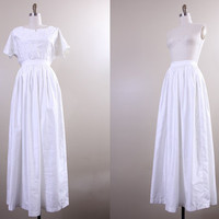 casual vintage wedding dress / shirt skirt & purse set / white maxi skirt 1970s large