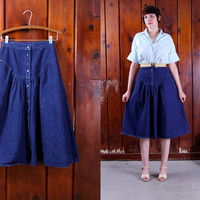 vintage denim skirt / 80s blue full skirt prairie style / button skirt with pockets size S M 27 inch waist