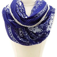 Crochet-Trimmed Paisley Print Infinity Scarf