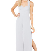 Bariano Marianna Wide-Leg Slit Cross-Back Jumpsuit