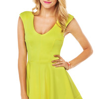 V Neck Flare Dress in Chartreuse