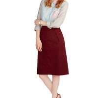 Pink Martini A-line Aptitude for Anthropology Skirt in Wine