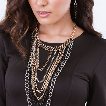 Indecision Mixed Metal Chains Necklace Set