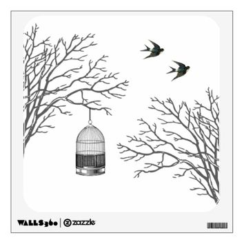 Vintage Birdcage Roses Swallow Wall Decal