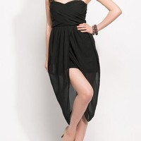 Open Front Strapless Wrap Chiffon Dress